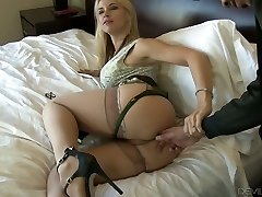 Stellar blonde babe on the bed deepthroats black penis and arches over