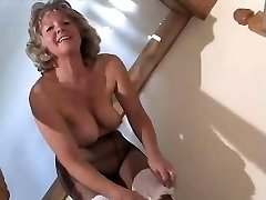 Adorable Granny In Black Pantyhose Frolicking On The Steps