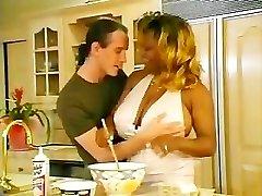 Ebony BBW Gets Warmed Up In The Kitchen