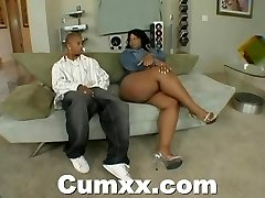 Chunky rump dark-hued making out with vibrator and