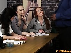 Casting CFNM lady agent tugging ebony cock