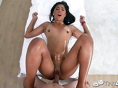 Tiny4k - Ebony Katalina Mills lubed rubdown