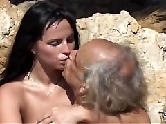 Dirty girl ass licking and sucking old cock
