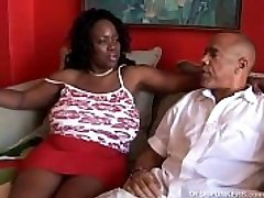 Busty mature dark-hued Plus-size loves to suck cock