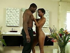 Curvy seductive chocolate masseuse takes BBC possessor to the shower