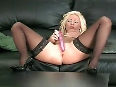 Ebony Thigh Highs And Heels On This Jacking Blonde