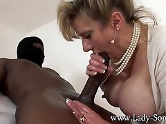 MILF Lady Sonia jerks HUGE black cock