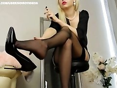 Black nylons dangling accomplished