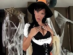 Stunner in a costume and undergarments for Halloween