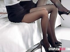 Office Girls Mia and Rossy Pubic Hair Strapless Dil