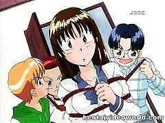 Teenage anime girl in dirty bukkake