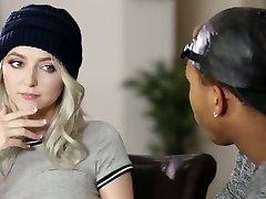 Nasty blond haired busty girl lures her black neighbor for bi-racial fuck-fest