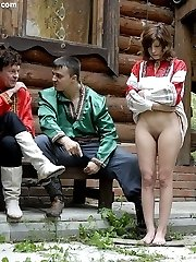 Young girl brutally tied and spanked in the deep russian forest