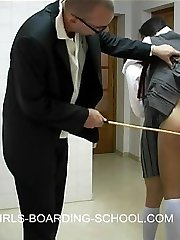 Skirts up knickers down caning for two school pretty school femmes - real tears