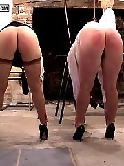 Two pretty school nymphs fumble their toes with knickers off for a very hard caning