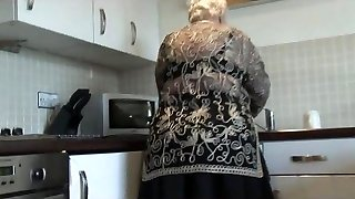 Sweet grandma shows hairy cunny yam-sized ass and her boobs