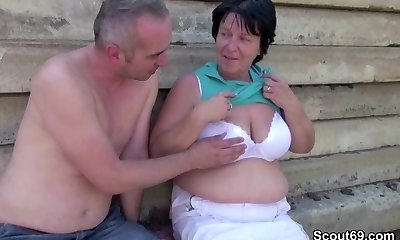 Aged Grandma get drilled Outdoor by Grandson