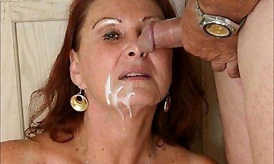 Jizm faced white Christmas grandmas by satyriasiss