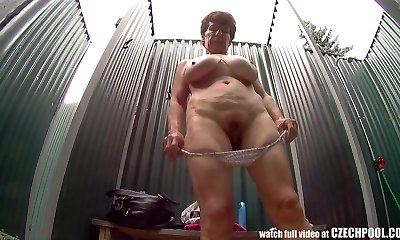 Mature Busty Damsel in Shower