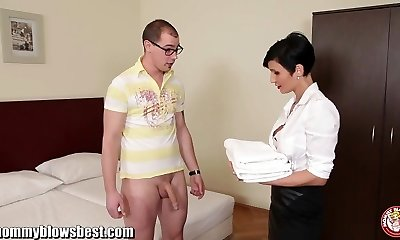 MommyBB Busty euro Milf Maid bj's the hotel client