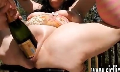 Extreme dual fisting and giant bottle insertions