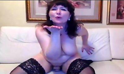 Russian mature masturbating on cam