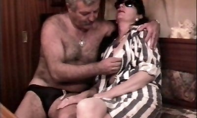 Vintage French romp movie with a mature hairy couple