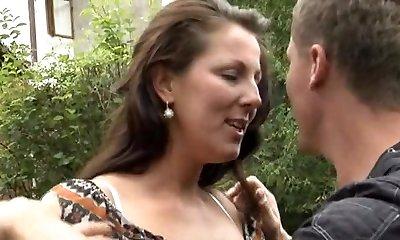German Mom Outdoor Powerful Sex
