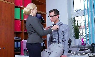 MOM Blonde big tits Milf sucks massive dweeb cock