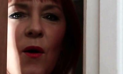Mature CFNM red-haired jacking and sucking cock