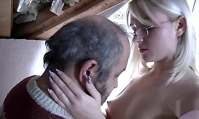 Blond with glasses fucked by old stud