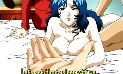 Japanese hentai mom rock-hard gangbang