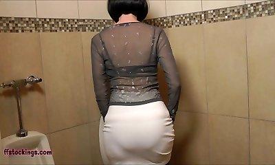 FFstockings - Mature jerking off Belt Cock in the Mens Room