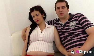 Selling my preggie girlfriend. Jordi enjoys a future mom