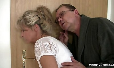 She stretches her legs for his old parents