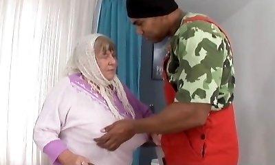 Big Black Sausage Creampies Grandmother with Huge Tits