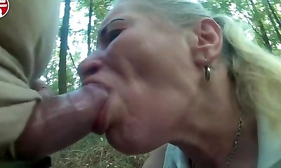 Pumped cock use poor prostitute mouth and throat in forest