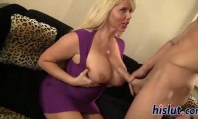 busty blonde MILF fucks her boyfriend
