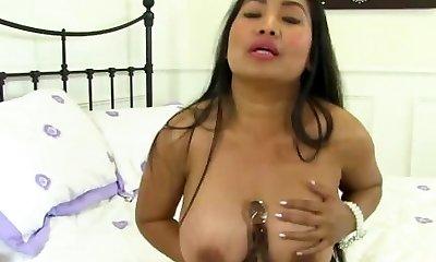 Big-titted Asian Mature Chats Dirty and Masturbates