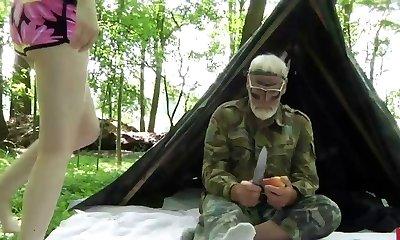 Solitary Grandpa fucks platinum-blonde teeny in the woods