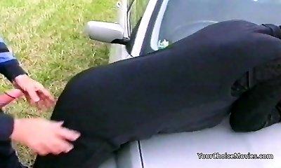Older mature couple risky outdoor sex