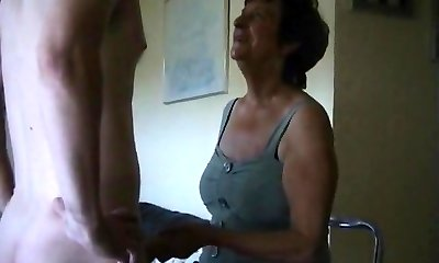 Grubby old northern mother punishing the dude