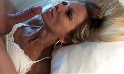 Smallish mature blondie POV facial and replay