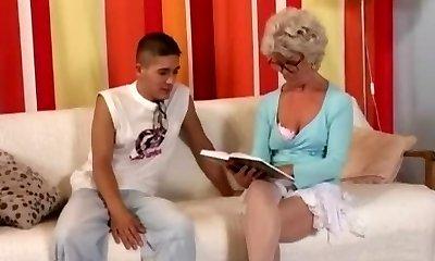 Granny in Glasses Screws the Boy