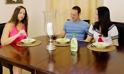 Step-brother Fucks Sister in Front of MILF Mom