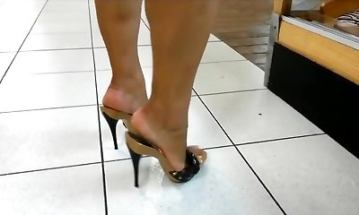 Mature gams & feet in high heels mules (greatest of)