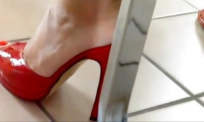 Red mules in kitchen