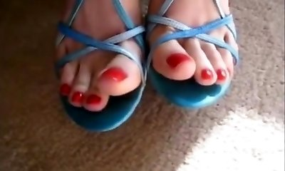 Uber-sexy Feet In Blue Sandals