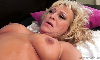 Chubby curly bright towheaded haired housewife gets mature slit fucked