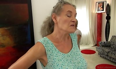 Brief haired doll Tricia Teen ravages a granny and a horny man in 3some